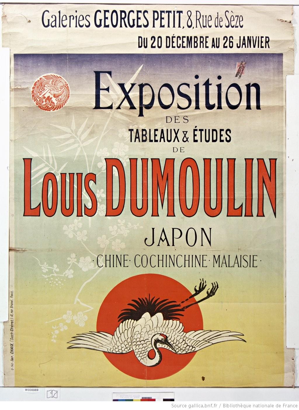 Affiche de l'exposition Dumoulin organisée en 1889 à son retour d'Asie